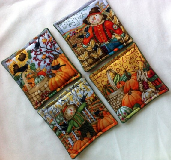 Fall Coasters, Scarecrow Coasters, Pumpkim Coasters, Autumn Coasters, Handmade by AnnieKDesigns