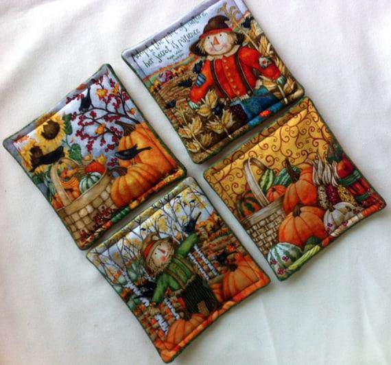 Fall Coasters, Scarecrow Coasters, Pumpkim Coasters, Autumn Coasters, Handmade by AnnieKDesigns