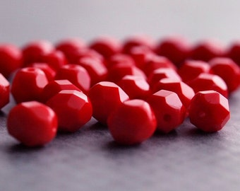 Opaque Red Czech Glass Bead 6mm Faceted Round : 25 pc