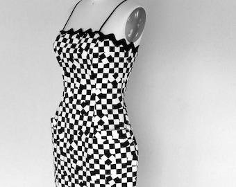 Vintage 90s Black and White Check Dress Sz S/M