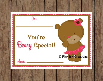 Set of 8 Valentine BEARY SPECIAL Kids Valentine's Day Card - GIRL