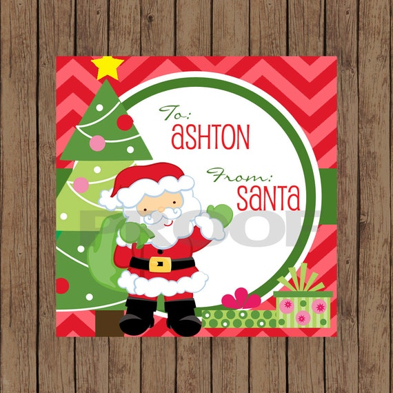 personalized santa claus favor gift tag by pinkinkcreation