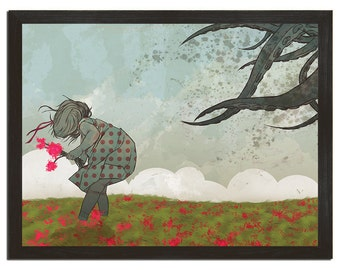 """Octopus, Tentacles, Flowers, Clouds, Illustration, Art Print, Poster, 18"""" x 24"""""""