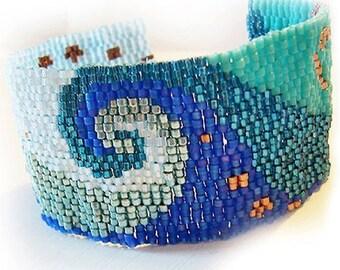 Ocean Swirl Glass Beads Bracelet - Peyote Cuff Bracelet - Wide Blue Swirl Beadwork Bracelet
