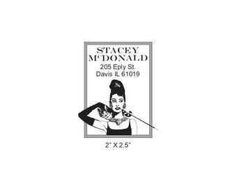 Audrey Hepburn Breakfast at Tiffanys Custom Return Address Rubber Stamp AD321