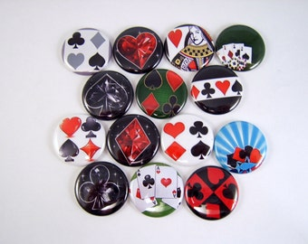 One Inch Card Playing Buttons, Pins, or Magnets 12 ct.