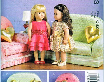 "McCalls 6853 or 487 Doll Dress Fits 18"" American Girl Doll Plus Furniture Chair Love Seat Pillow Sewing Pattern NEW UNCUT"