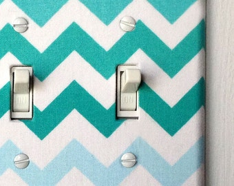 Double Standard Light Switch Plate Cover - blue ombre chevron