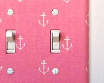 Fabric Double Standard Light Switch Plate Cover - Pink with White Anchors, nautical
