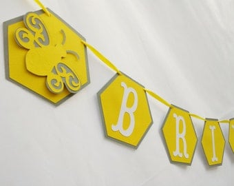 Bride to Bee Banner - Bridal Shower Garland - Yellow Gray - Any Color Bee theme Shower - Honeycomb Bee Married Bridal Shower Decorations