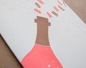Bonne Année Letterpress New Year's Card // Set of 6 cards // 1543B