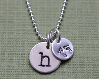 Initial and Baby Feet Necklace,  Mother's Necklace in Sterling Silver