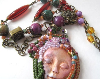 Bead Embroidered Pendant Necklace, Face Pendant, Gypsy Necklace, Jewel Colors, Vintage Bead Necklace, Artisan Design, Bohemian Jewelry, Gift