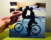 """10x10"""" PRINT of Kissing Couple on Bike- First Pin on Pinterest"""