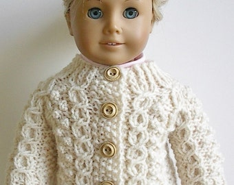 18 Inch Doll Clothes Knit Irish Fisherman Cardigan Sweater with Horseshoe Wishbone Cable Handmade to fit American Girl Doll