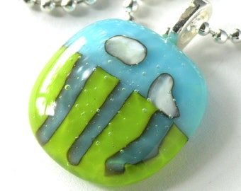 Cloudy Sky Fused Glass Pendant . Sunny Days . Fused Glass Pendent with Silver Chain . Three Rivers and Two Clouds . Earth Sky