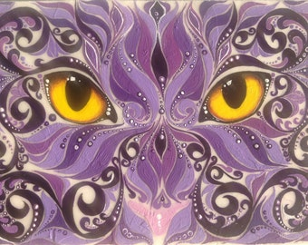 Reproduction ACEO Purple Swirl Cat