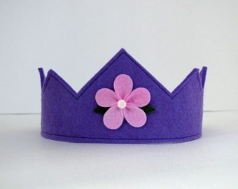 Wool Felt Crown -- violet with pink flower