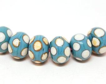 Turquoise Polka Dot on Light Ivory - Handmade Lampwork Glass Bead Set