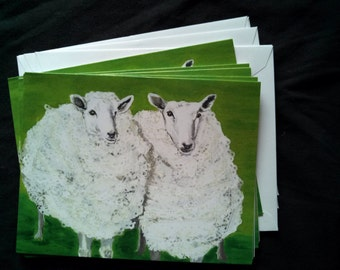 Double Sheep Notecard Set from Original Painting Collage