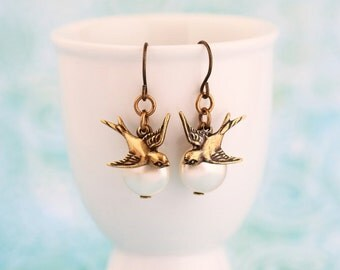 Brass Bird Earrings, Brass Swallow Flying Over Ivory Pearl Earrings, Vintage Style, Pearl Jewelry, Nature, Gift For Woman, Valentines Gift