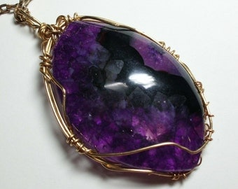 SALE! Priced at 20% off! Large Deep Purple Drusy Agate Wire Wrapped Pendant on Simple Gold Plated Chain