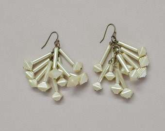 Earrings Celluloid Ivory Pearl Dangle 1930s