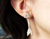 Double Sided Bronze Arrow Studs - ear jacket