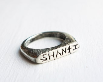 Hand carved Shanti Ring- Sterling Silver