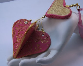 Handmade Pink and Gold Valentine Heart Ornament