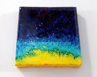 SUN BURST 3x3 magnet acrylic painting