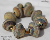 8 Large Ancient Raku Bicones 2 Large Rounds , Lampwork Beads , earthy look , glass beads by Beadfairy Lampwork, SRA