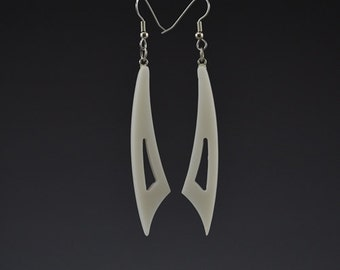 Small Curve Earrings - White - Pierced Earrings - Upcycled Corian Handmade Recycled Jewelry by Mark Noll - Gift for Her