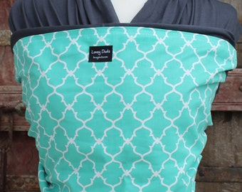 Super Lightweight Baby Sling-ORGANIC Bamboo Baby Wrap Sling Carrier-Teal Lattice on Gray-One Size Fits All-Newborn to Toddler-DvD Included