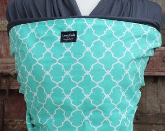 Baby Sling-ORGANIC COTTON Baby Wrap Sling Carrier-Teal Lattice on Gray-One Size Fits All-Newborn to Toddler-DvD Included