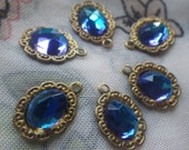 Bermuda Blue Rauten Rose 8x6mm Glass Fancy Frame Drops Brass Ox One Loop 6 Pcs
