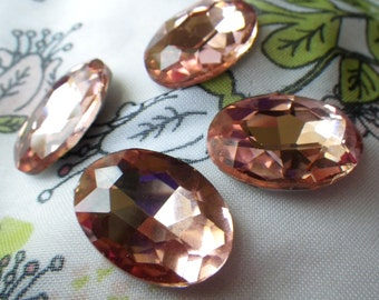 Peach Pink 25x18mm Oval Crystal Gems Foiled 4 Pcs