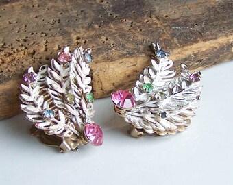 Enamel Earrings, White Enamel Fern Earrings, Enamel and Rhinestone Earrings, Clip Ons, Etsy, Etsy Jewelry, Vintage Earrings, Etsy Vintage
