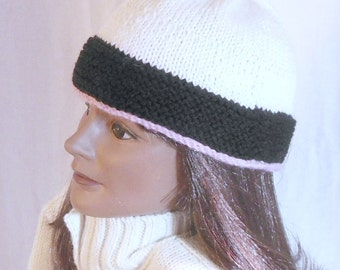 Hand knit beanie hat, black, white, pink, knit ski cap, watch cap, skullcap
