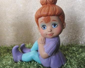 Pixie Girl - Baby Girl Statue - Baby Shower Gift - Girls Room Decor - Baby Girl Gift - Christmas in July Sale - Little Girl Statue
