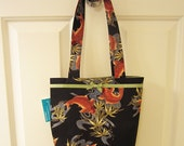 SMALL TOTE BAG Japanese Koi Fish Print Purse Handbag goldfish japan tattoo