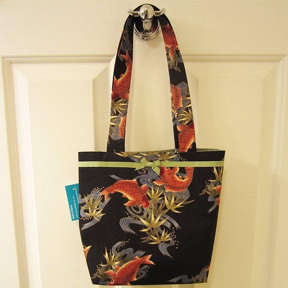 Small tote bag japanese koi fish print purse handbag goldfish for Koi fish purse