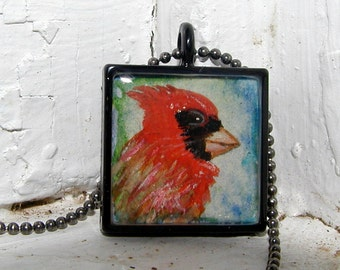 Cardinal Pendant..Red Bird Jewelry..Wearable Art Necklace..Bird Necklace..Hand Painted Cardinal Pendant..Red and Blue Miniature Painting