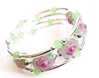 Silver Memory Wire Bracelet, Pink Lampwork Glass Memory wire, Handmade Jewelry,