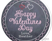 Personalized Valentine Stickers - Chalkboard Valentine - Valentine Stickers, Personalized Labels, Valentine Labels, Valentine Party