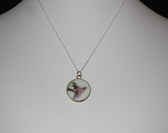 Flight - Pink Bird Pottery Shard Pendant on Sterling Silver Necklace - Soaring Bird Necklace