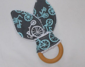 New! Blue Bicycles Rabbit Ears Wooden Teething Ring