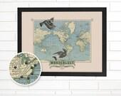 Vintage World Map Wall Art, Custom Wanderlust, Pushpin Travel Map