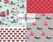 FABRIC SALE, 4 Fat Quarters British Invasion Riley Blake Designs