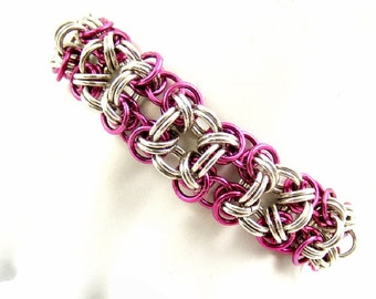 Hot Pink Bracelet, Chainmaille Bracelet, Sterling Silver Bracelet, Fuchsia Bracelet, Colorful Chainmail Jewelry